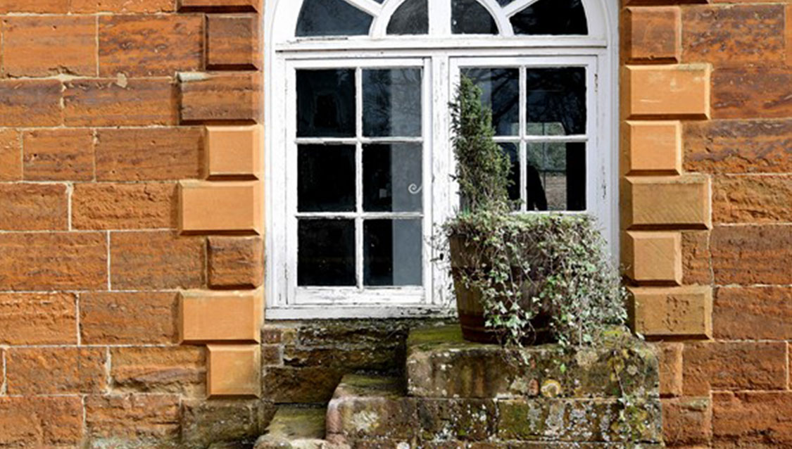 Window and steps at Delapré Abbey