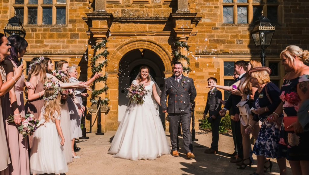 Bride and Groom at Delapré Abbey