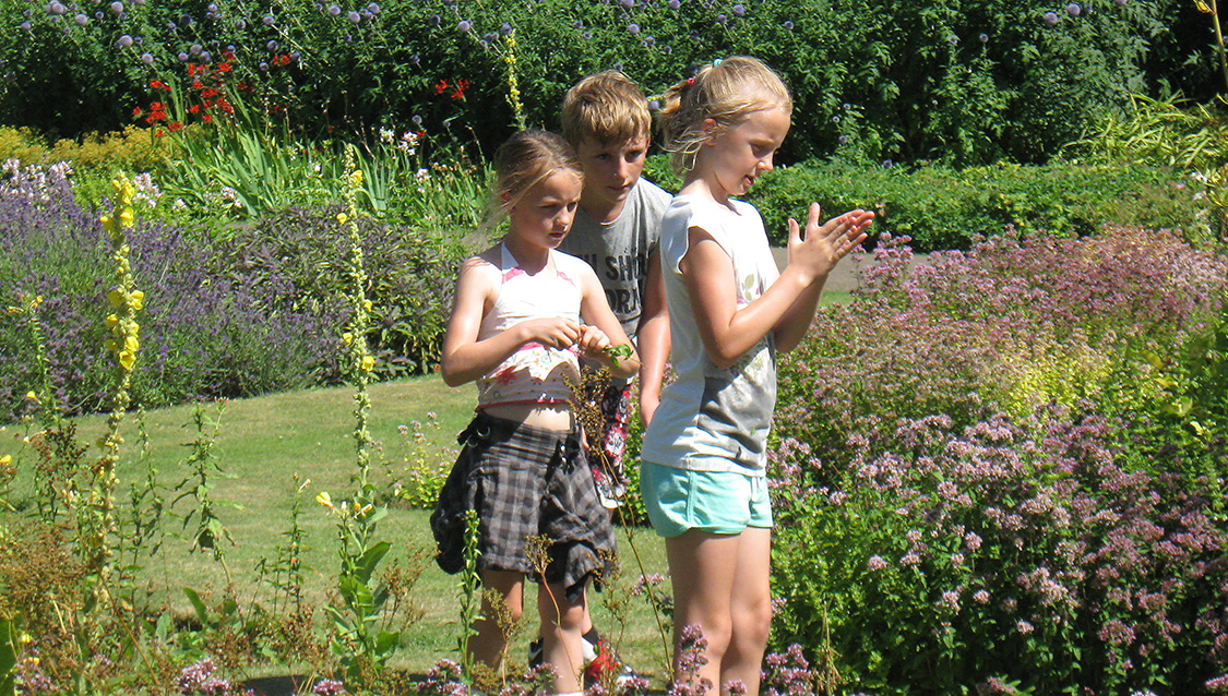 Children exploring the Delapré Gardens
